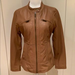 NWT PECK & PECK SEDONA CAMEL COLOR LEATHER JACKET